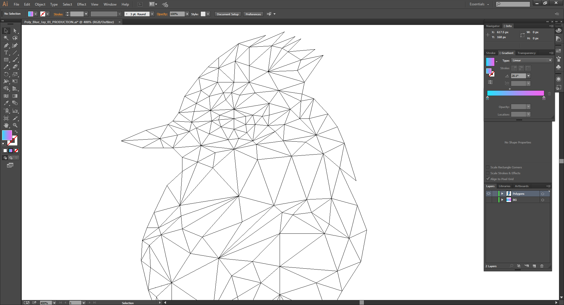 Low Poly Blue Jay Outlines